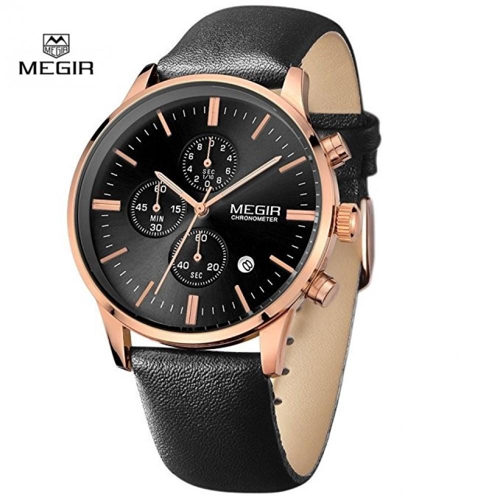 Ανδρικό ρολόι Megir Rose Gold με δερμάτινο λουράκι σε σούπερ τιμή ... 467e8b5e6b5